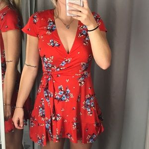 Red Wrap Floral Dress